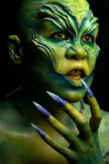 atheris fx makeup body paint alien rbfx prosthetics foam latex gold sci fi