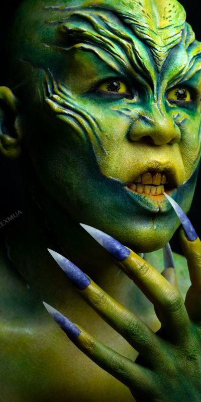 atheris fx makeup body paint alien rbfx prosthetics foam latex gold sci fi