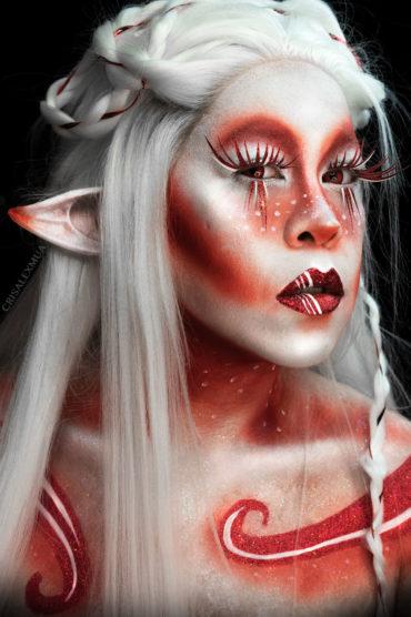 candy cane beauty makeup glitter body paint fantasy christmas elf peppermint