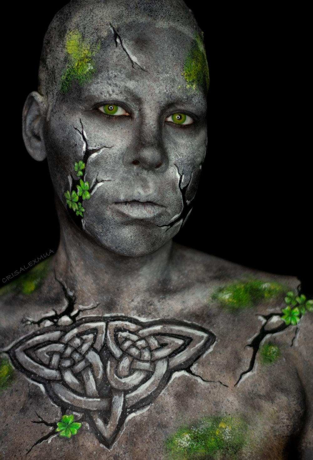 celtics stone body paint st patricks day youtube makeup shamrock stone fx