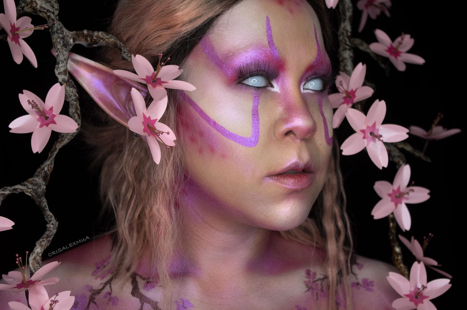 cherry blossom makeup naked cosmetics fantasy beauty body paint