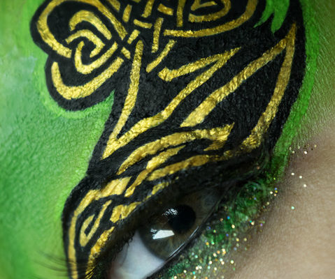 lucky macro beauty makeup celtic knot shamrock gold eye