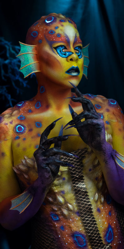 aquaticus nyx face awards entry fx makeup mermaid body paint fantasy creature