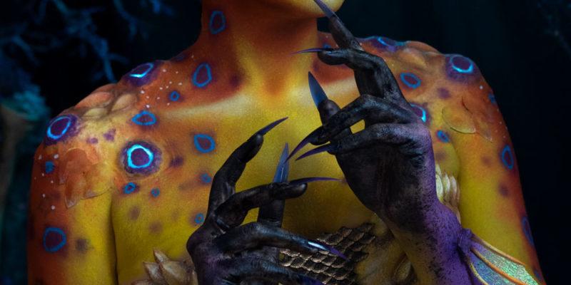 aquaticus nyx face awards entry fx makeup mermaid body paint fantasy creature
