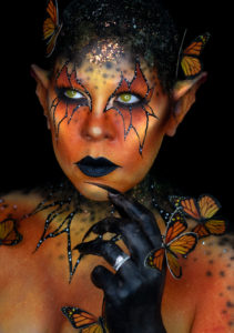 Monarch beauty fantasy creature body paint makeup moth myth