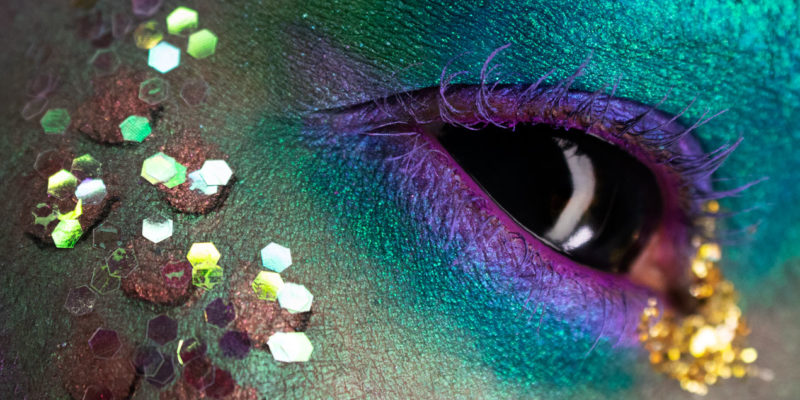 dark mermaid eye macro makeup glitter creative colorful avant garde