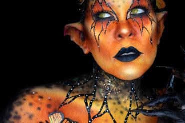 Monarch beauty fantasy creature body paint makeup moth myth