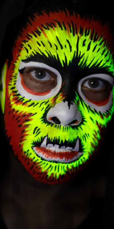 ben cooper wolfman vintage halloween mask face paint uv