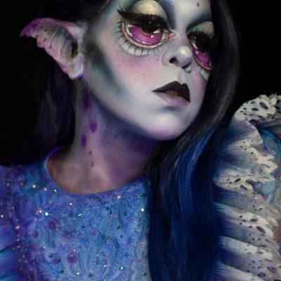 wonderland caterpillar nyx cosmetics makeup fantasy body paint big eyes makeup creature
