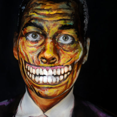 basil gogos mr sardonicus body paint makeup halloween
