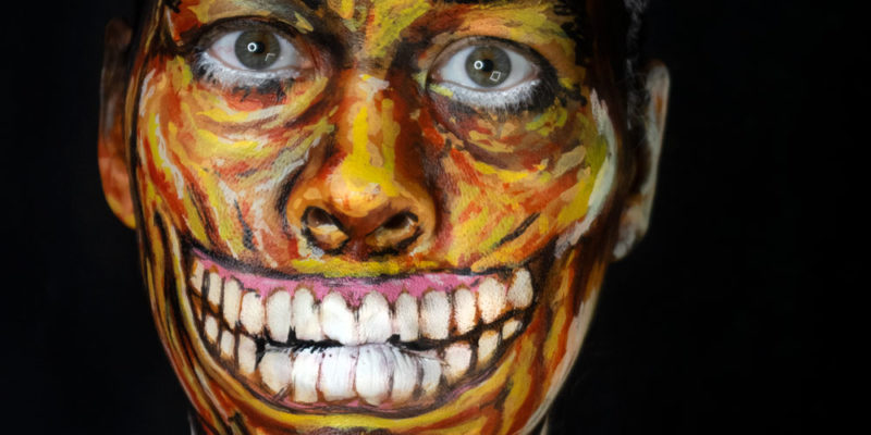 basil gogos mr sardonicus body paint makeup halloween