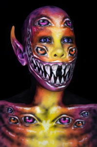 shadow banner IG creature body paint colorful monster illusion eyes
