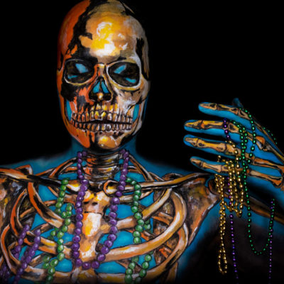 mardi gras de la mort skeleton illusion makeup body paint metallic