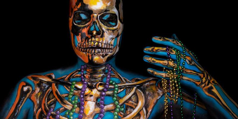 mardi gras de la mort skeleton illusion makeup body paint metallic