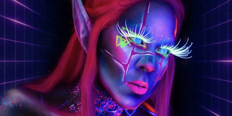synthfae uv fx fantasy cosplay fairy makeup body paint synthwave aesthetic