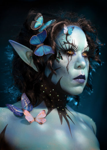 morpho butterfly fairy fantasy cosplay body paint makeup