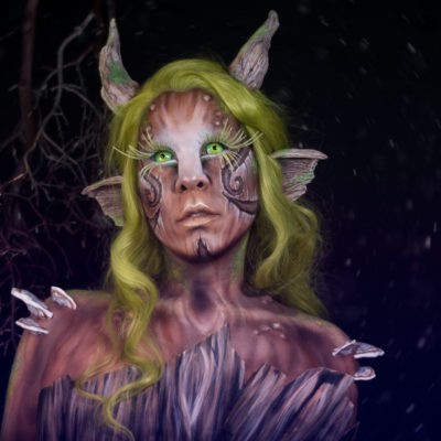 moriko forest spirit fantasy creature cosplay body paint makeup wood texture FX