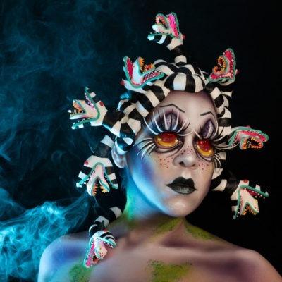 medusajuice medusa beetlejuice fanatasy makeup halloween tim burton body paint