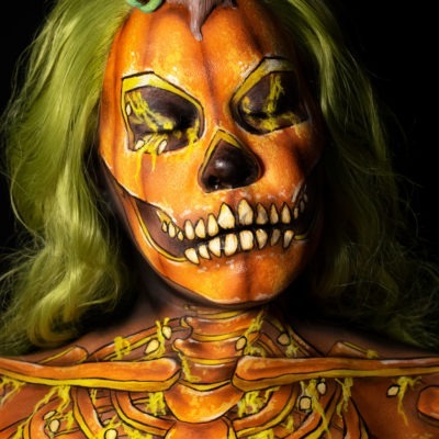 pumpkin skeleton body paint illusion halloween makeup tutorial pumpkin gut look