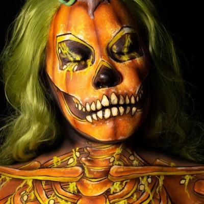 pumpkin skeleton body paint illusion halloween makeup tutorial pumpkin gut look