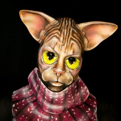 sphynx cat illusion makeup bodypaint crazy