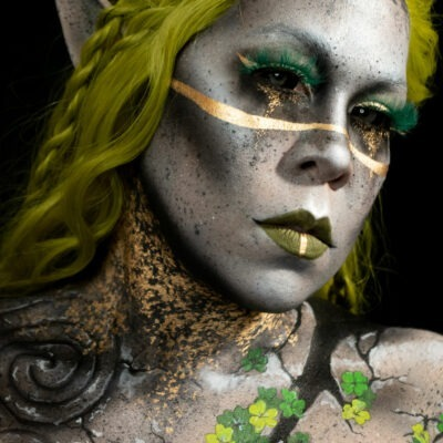 clover stone creature body paint makeup gold st patricks day fantasy look