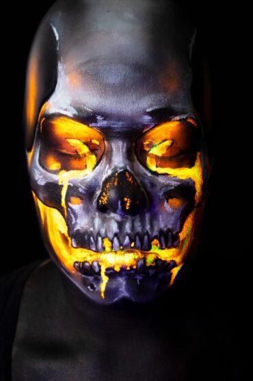 volcano emoji lava skull uv makeup face paint illusion halloween fx