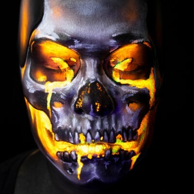 volcano emoji lava skull uv makeup face paint illusion halloween fx
